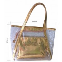 A stylish, see-through all-purpose tote bag with removable smaller bag inside.